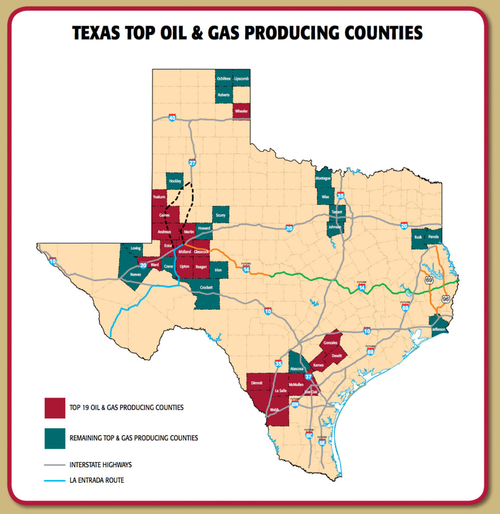 Map of Top Oil and Gas Producing Counties in Texas